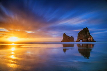 NZ9053AW Wharariki Beach at Sunset, New Zealand