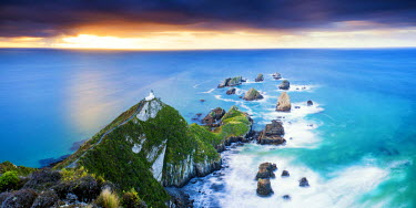 NZ9112AW Nugget Point Lighthouse at Sunrise, New Zealand
