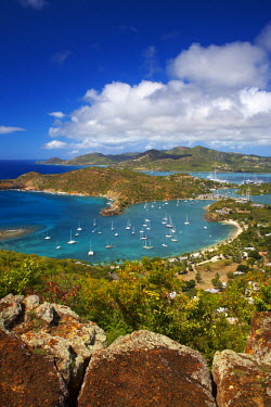ANB0002AW View over Nelson's Dockyard, English Harbour, Antigua, Caribbean, West Indies