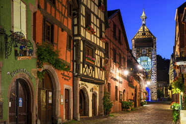 FRA9455AW Riquewihr at Night, Alsace, France