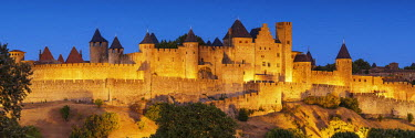 FRA9486AW Carcassonne at Night, Languedoc, France