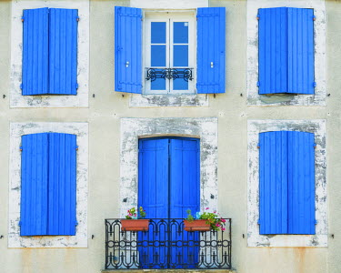 FRA9487AW Blue Window Shutters & Door, Languedoc, France