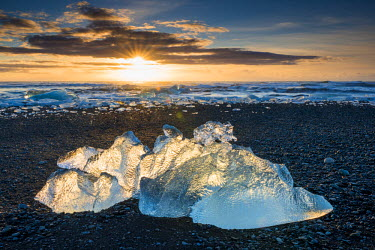ICE3936AW Glacial Iceberg at Sunrise, Jokulsarlon Beach, Iceland