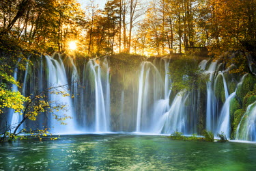 CRO1528AW Cascading Waterfall in Autumn,  Plitvice National Park, Croatia