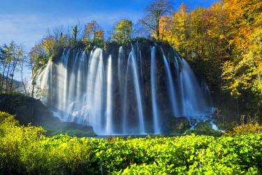 CRO1529AW Cascading Waterfall in Autumn,  Plitvice National Park, Croatia