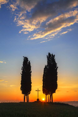 ITA9724AW Cypress Trees & Cross at Sunrise, Val d'Orcia, Tuscany, Italy