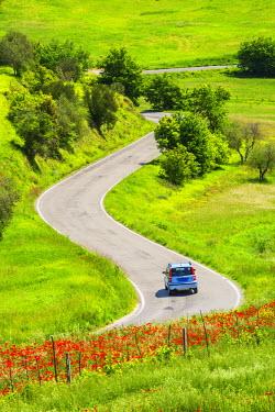 ITA9725AW Car on Winding Road, Tuscany, Italy