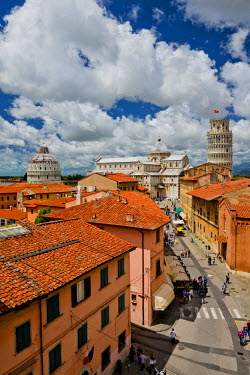 ITA9740AW View over Leaning Tower, Cathedral & Bapistry, Pisa, Tuscany, Italy