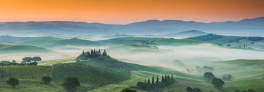 ITA9745AW Misty Landscape Behind Belvedere, Val d'Orcia, Tuscany, Italy
