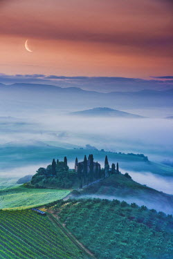 ITA9746AW Misty Landscape Behind Belvedere, Val d'Orcia, Tuscany, Italy