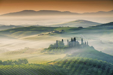 ITA9814AW Mist around Belvedere, Val d'Orcia, Tuscany, Italy