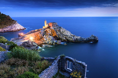 ITA9823AW Church of St. Peter at Night, Portovenere, Liguria, Italy