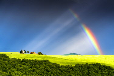 ITA9824AW Fragmented Rainbow & Light Rays over Chapel Madonna di Vitaleta, Tuscany, Italy