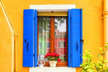 ITA9839AW Blue Shutters & Window, Burano, Venice, Italy