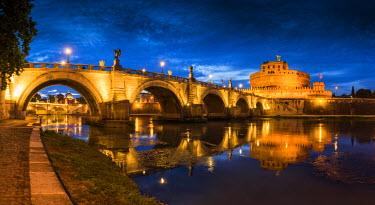 ITA9851AW Castel Sant'Angelo at Night, Rome, Italy