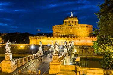 ITA9852AW Castel Sant'Angelo at Night, Rome, Italy