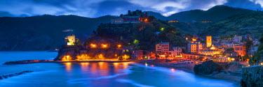 ITA9856AW Monterosso al Mare at Night, Cinque Terre, Liguria, Italy