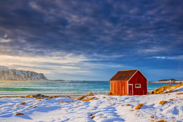 NOR0865AW Red Shack in Winter, Lofoten Islands, Norway