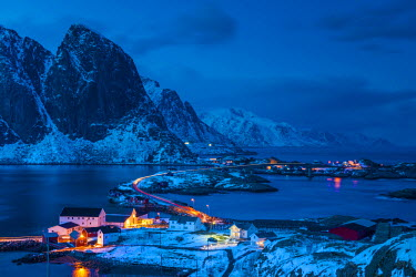 NOR0869AW View Over Hamnoy at Night, Lofoten Islands, Norway