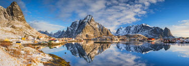 NOR0879AW Olstinden Reflecting in Bay, Reine, Lofoten Islands, Norway