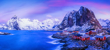 NOR0883AW Red Fishing Huts at Hamnoy, Lofoten Islands, Norway