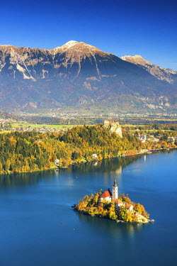 SLO1188AW Lake Bled with Assumption of Mary's Pilgrimage Church, Slovenia, Europe