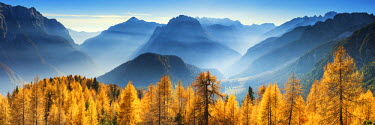 SLO1203AW Autumn Mist in Julian Alps, Triglav National Park, Slovenia, Europe