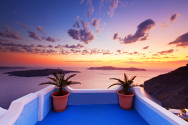GRE1333AW Sunset over Caldera, Fira, Santorini, Cyclade Islands, Greece