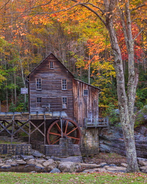 USA11921AW Glade Grist Mill in Autumn, Babcock State Park, West Virginia, USA