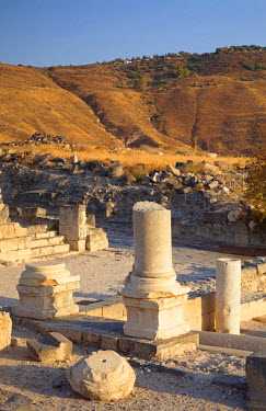 ISR0090 Israel, Galilee. Ruins from the Ancient Roman city of Sussita otherwise known as Hippos on the Golan Heights overlooking the Sea of Galilee of which surrounding territory served as an Israel base over...