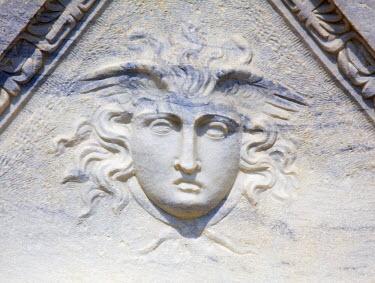 ISR0123 Israel, Caesarea. Face of Medusa cast in Marble.