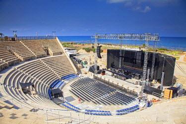 ISR0161 Israel, Caesarea. The Roman Theatre at the Ancient city of Caesarea.