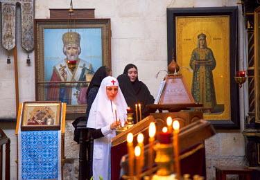 ISR0166 Israel, Jerusalem. Eastern Orthodox Nuns at the Alexander Nevsky Church. Unesco.