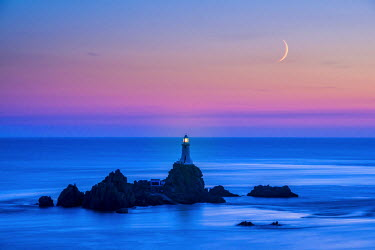 ENG14101AW Moon over Corbiere Lighthouse, Jersey, Channel Islands