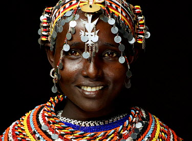 KEN10292AW Portrait of a Samburu girl, Kenya, Africa