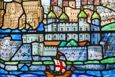 TPX56988 England, London, The City, All Hallows By The Tower Church, Stained Glass Window depicting River Thames and The Tower of London