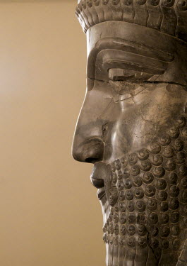 HMS2257884 Iran, Shemiranat County, Tehran, profile of an ancient persian statue in the national museum