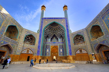 HMS2481872 Iran, Isfahan Province, Isfahan, naghsh-i jahan square also known as Imam Khomeiny square, listed as World Heritage by UNESCO, the Shah Mosque also known as Imam Mosque with its monumental entrance