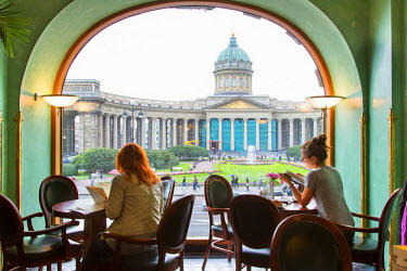 HMS1182354 Russia, Saint Petersburg, listed as World Heritage by UNESCO, cafe in Zinger (Singer) building