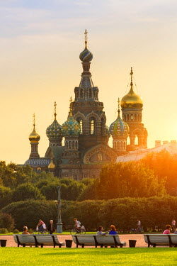 Russia, Saint Petersburg, listed as World Heritage by UNESCO, Church of the Saviour on Spilled Blood at sunset