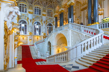 HMS1182420 Russia, Saint Petersburg, listed as World Heritage by UNESCO, Jordan staircase in the winter palace