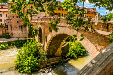 ITA9595AW The Pons Fabricius or Ponte dei Quattro Capi, is the oldest Roman bridge in Rome, Italy, still existing in its original state.