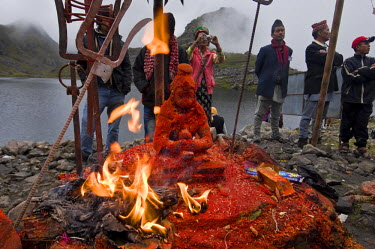 HMS0813319 Nepal, Bagmati Zone, Langtang Lirung Mountain range, Trisuli valley, syncretic pilgrimage of Gosainkund, mixing Chamanism, Buddhism and Hinduism, during the full moon of August, in monsoon time, on th...