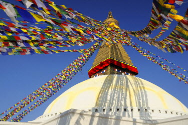 Nepal, Kathmandu valley, Bodnath listed as World Heritage by UNESCO, prayer flags on the stupa (archives)
