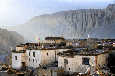 Nepal, Gandaki zone, Upper Mustang (near the border with Tibet), houses in the village of Tangge at sunset,