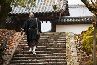 HMS0366941 Japan, Honshu Island, Kinki Region, city of Nara, Nara Park, monk