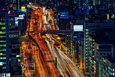 HMS2466380 Japan, Honshu island, Kansai, Osaka, expressways at night
