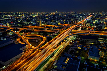 HMS2466385 Japan, Honshu island, Kansai, Osaka, expressways at night