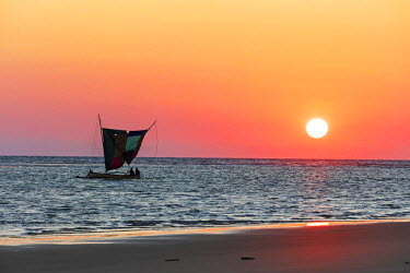 MAD0741 Africa, southern Madagascar, Morandava, sail boat at sea, sunset