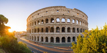 ITA9890AW Rome, Lazio, Italy. High angle panoramic view over the Colosseum square at sunrise.